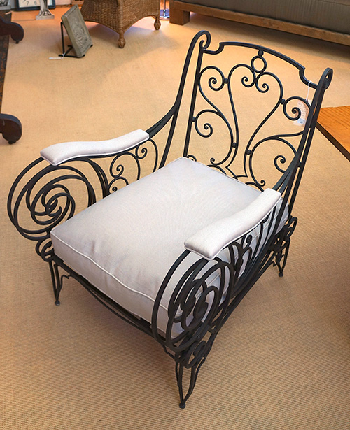 French Wrought Iron Club Chair & French Wrought Iron Club Chair - White Webb