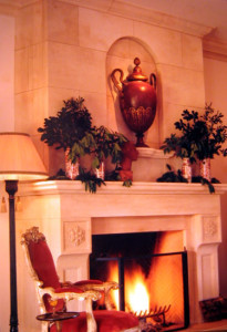 1920's Italian-revival villa fireplace